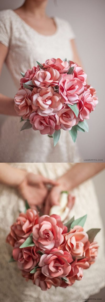 Original bouquet con rosas de papel