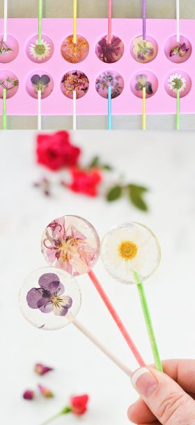 LOLLIPOPS CON FLORES COMESTIBLES